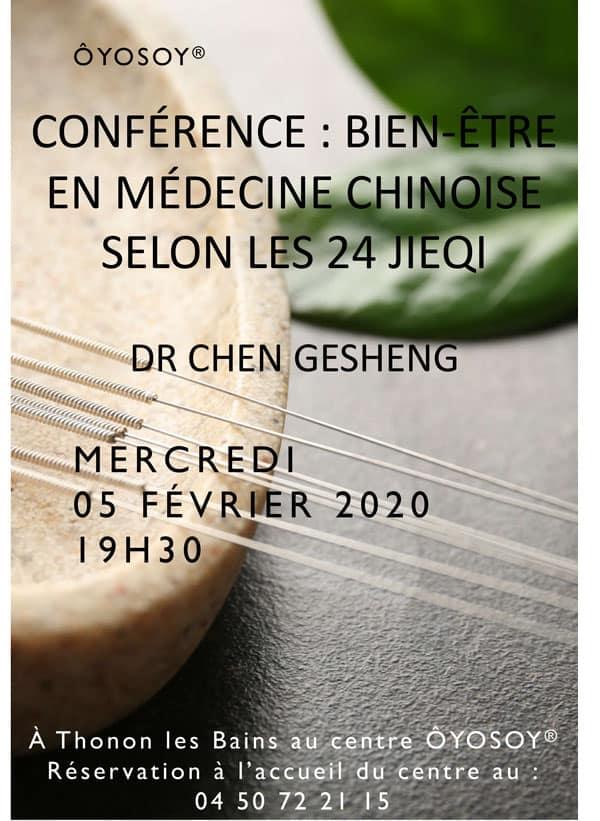 Conférence bien être médecine Chinoise Chen Gesheng